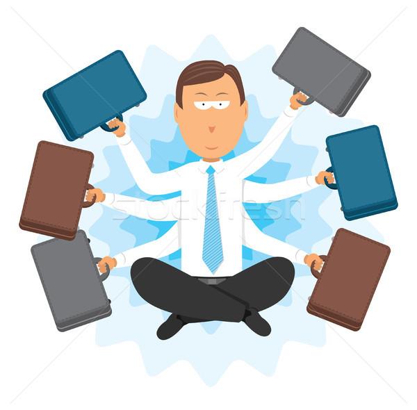 Multitaszking zen üzletember üzlet mágikus ül Stock fotó © curvabezier