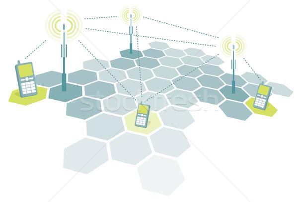 Kapcsolódik mobiltelefonok kommunikáció minta grafikon mobiltelefon Stock fotó © curvabezier