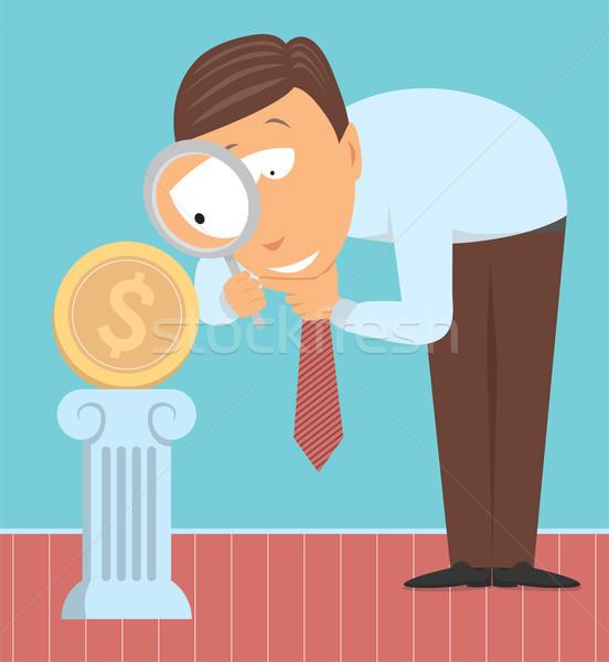 Dinheiro especialista moeda negócio pensando moeda Foto stock © curvabezier