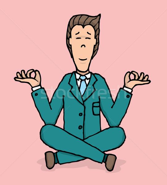 Negócio meditação ioga trabalhar empresário sessão Foto stock © curvabezier