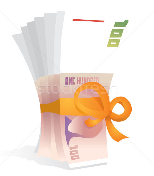 Hundred bills bowed as a gift / Money reward Stock photo © curvabezier