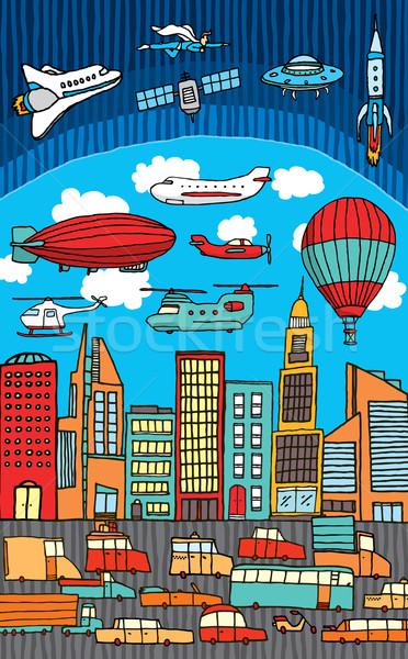 Foto stock: Ocupado · cidade · metrópole · carro · espaço · avião