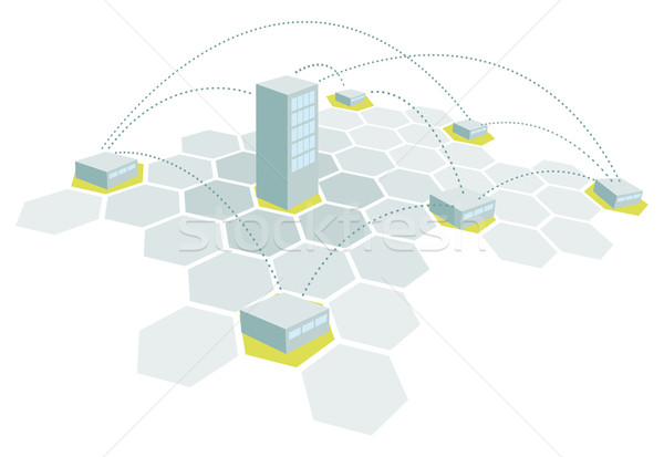 Headquarters and branches / Building office network Stock photo © curvabezier