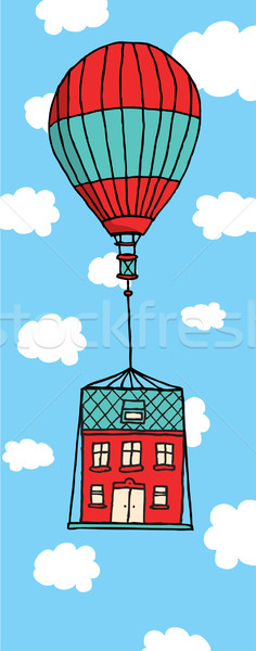 Moving house floating with balloon Stock photo © curvabezier