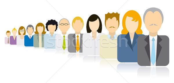 Stock photo: Business people icons team / Endless queue