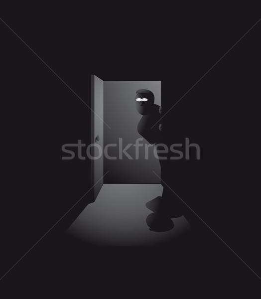 Gece casus hırsız erkekler karanlık vektör Stok fotoğraf © curvabezier