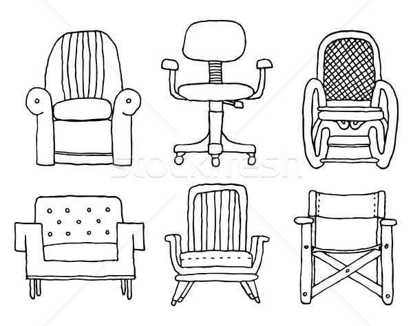 Desenho animado conjunto projeto sofá preto e branco sessão Foto stock © curvabezier
