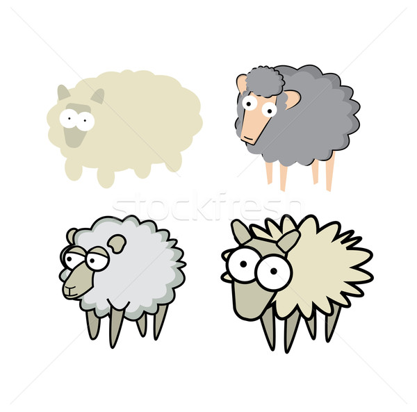 Different cartoon style sheeps Stock photo © curvabezier