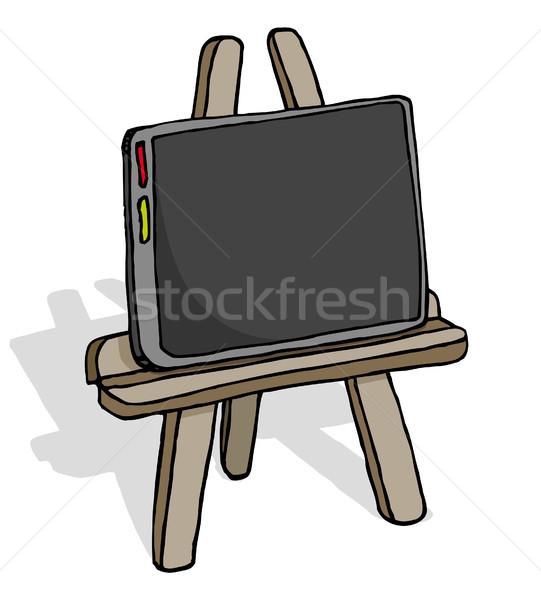 Tabletta vászon humor művészet technológia Stock fotó © curvabezier