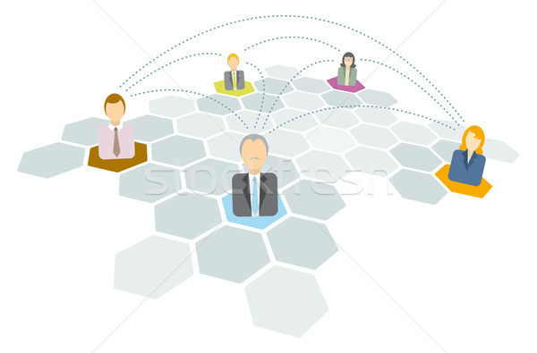 Stock photo: Business people connecting / Networking icons