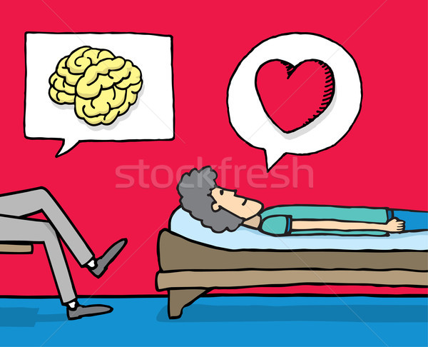 Psychologie actie hersenen praten sofa cartoon Stockfoto © curvabezier