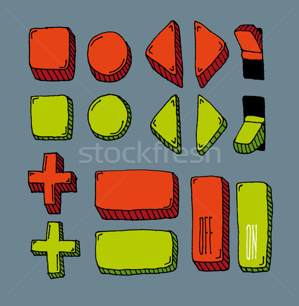 Hand drawn internet button set (color) Stock photo © curvabezier