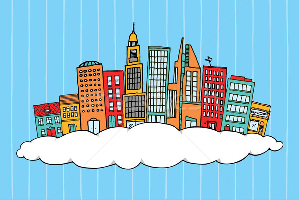 City in the clouds Stock photo © curvabezier