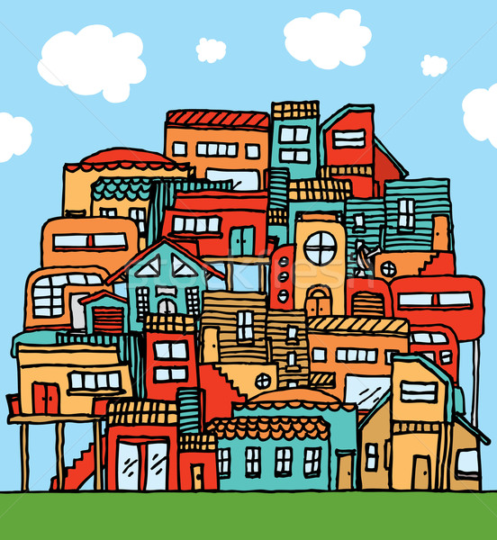 Community / Piled cartoon houses Stock photo © curvabezier