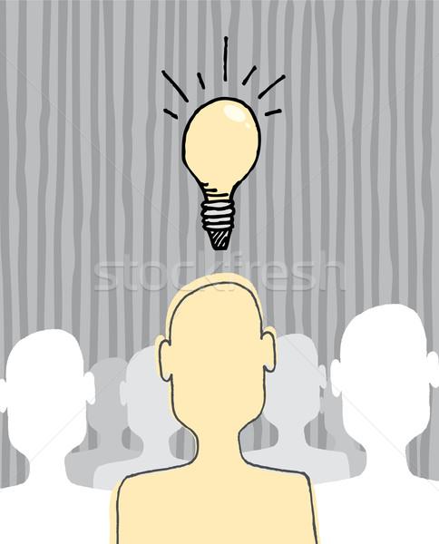 ストックフォト: アイデア · 霊感 · 電球 · 群衆 · 男性