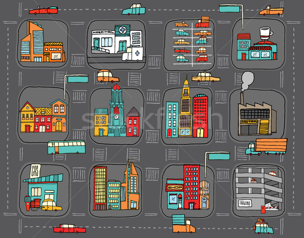 Colorful cartoon city map Stock photo © curvabezier