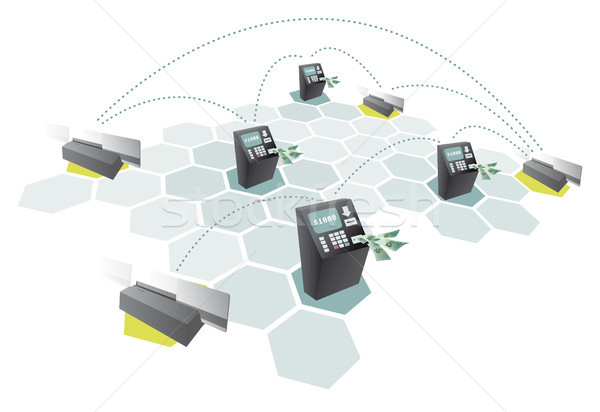 ATM network and credit cards connecting / Consumerism Stock photo © curvabezier