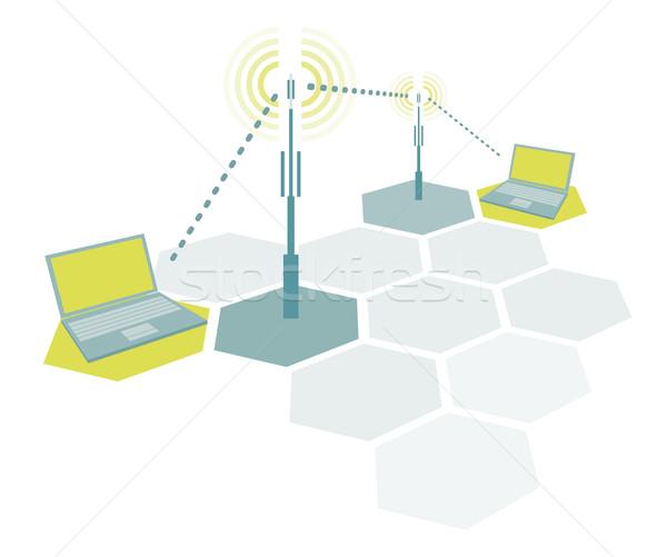 Laptops sem fio simples rede comunicação Foto stock © curvabezier