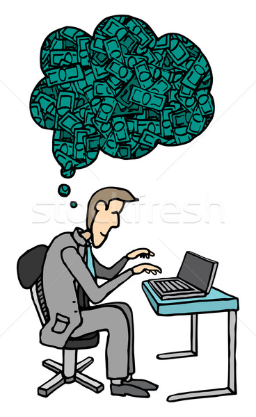 Bussinessman working hard for the money / Ambition Stock photo © curvabezier