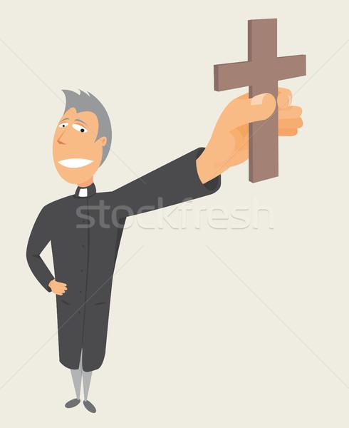 Priester kruis heilig bezetting Stockfoto © curvabezier