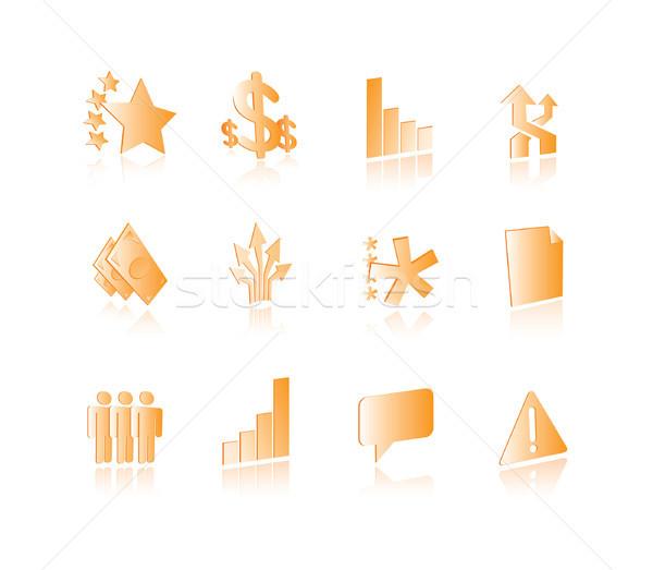 Conceptual business icons set Stock photo © curvabezier