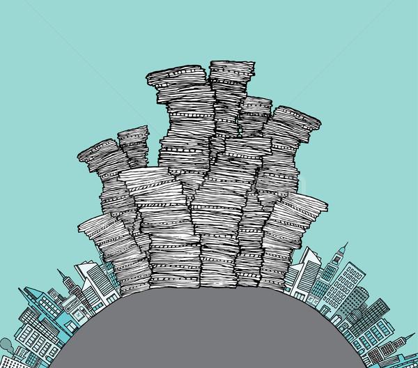Cidade desperdiçar lixo linha do horizonte desenho animado Foto stock © curvabezier