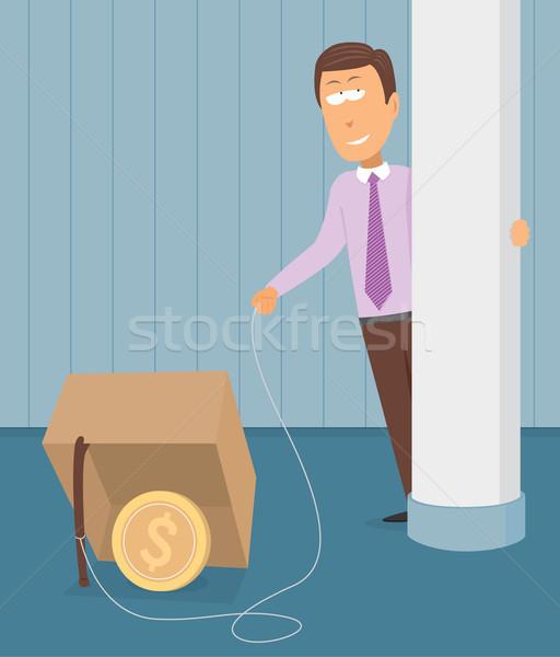 Business Geld Trap Ethik Dollar Karikatur Stock foto © curvabezier