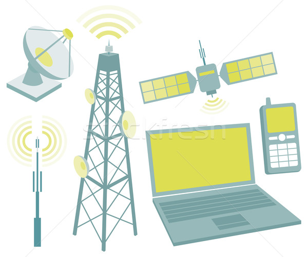 Telecommunication equipment icon set Stock photo © curvabezier