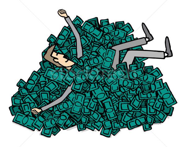 Gelukkig miljonair business zwemmen geld pak Stockfoto © curvabezier