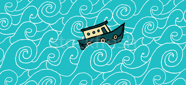 Small boat cruising a choppy sea Stock photo © curvabezier