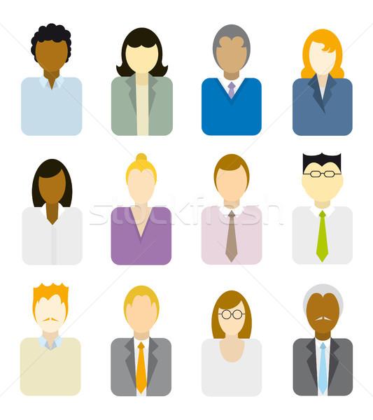 üzletemberek ikonok többnemzetiségű üzlet csapatmunka kisebbségi Stock fotó © curvabezier