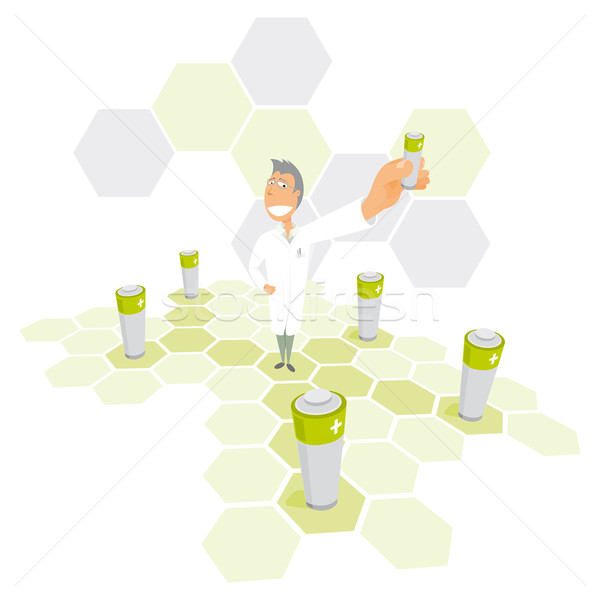 Scientist delivering clean energy / Power network Stock photo © curvabezier