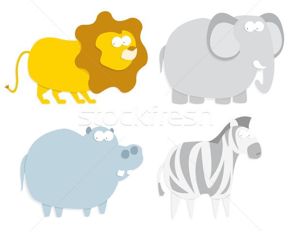 Leão hipopótamo zebra elefante Foto stock © curvabezier