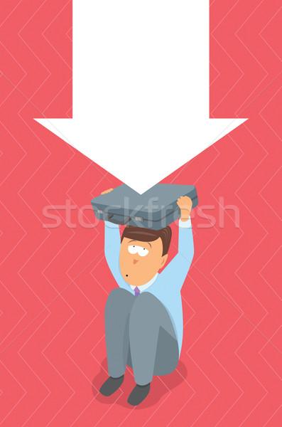 Empresário problema crise pressão negócio sessão Foto stock © curvabezier