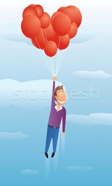 Cara flutuante valentine balões céu nuvem Foto stock © curvabezier