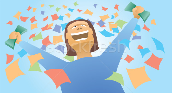 Happy winner holding money Stock photo © curvabezier
