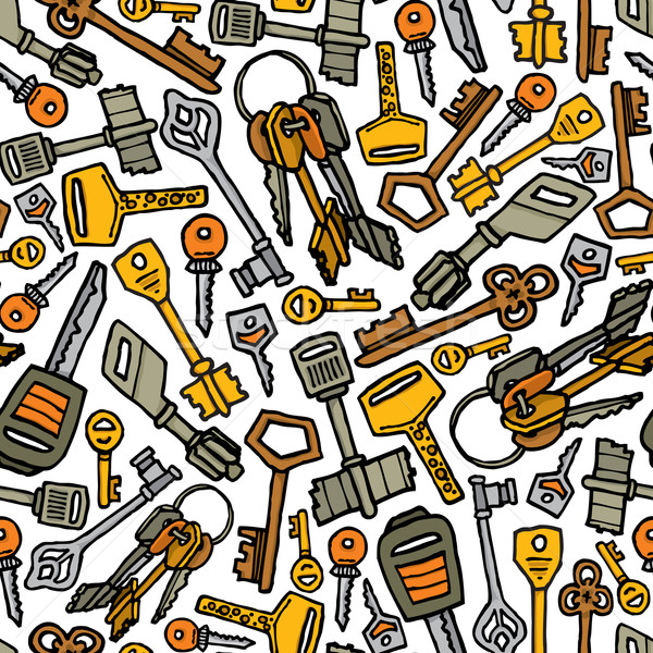 Keys vector seamless pattern Stock photo © curvabezier