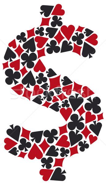 Pôquer dinheiro cartões diamantes corações Foto stock © curvabezier