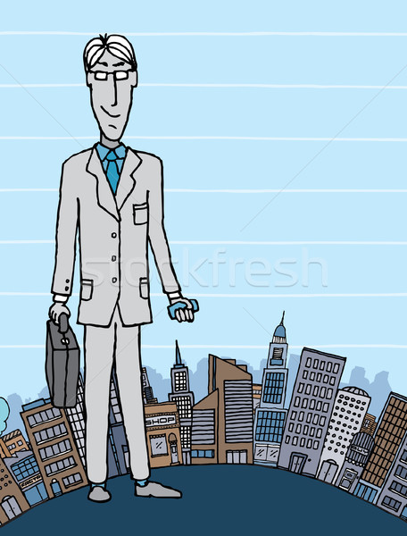 Businessman in the city with copyspace Stock photo © curvabezier