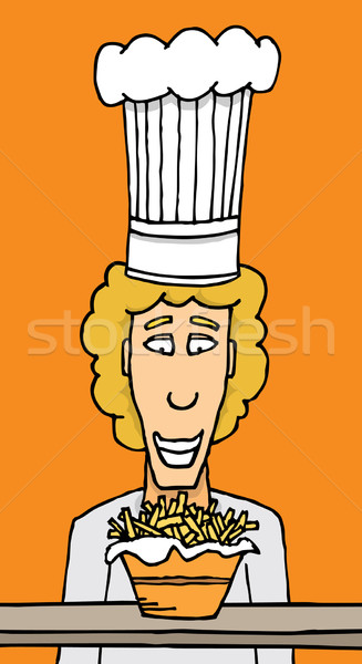 Chef fries comida trabalhando cozinhar Foto stock © curvabezier