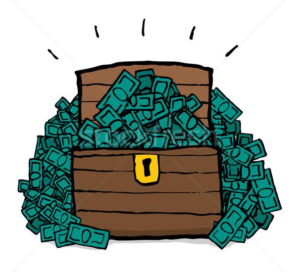 Dinheiro peito tesouro sucesso dólar desenho animado Foto stock © curvabezier