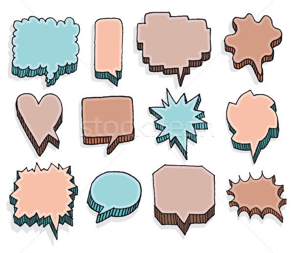 Cor conjunto vetor multidão comunicação Foto stock © curvabezier