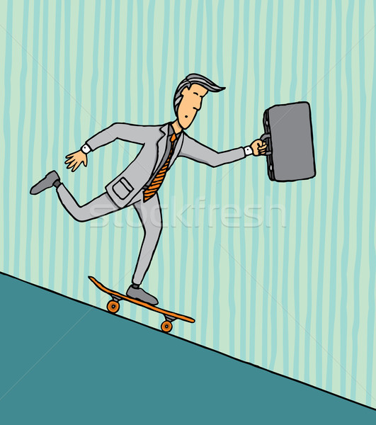 Riskant business cartoon portefeuille Stockfoto © curvabezier