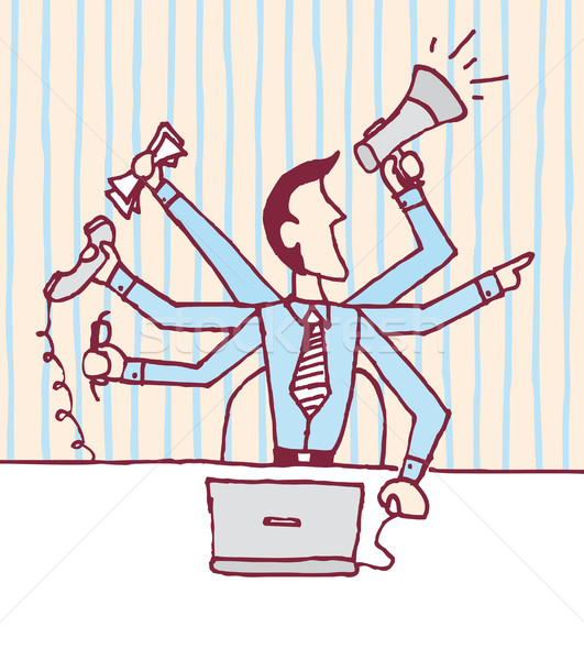 Multi tasking businessman / Stressed occupied Stock photo © curvabezier