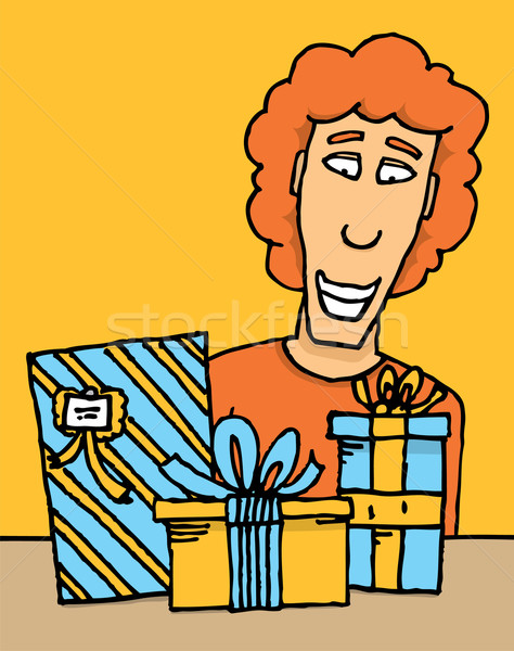 Guy receiving gifts Stock photo © curvabezier