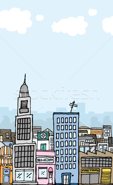 Vector cartoon city with copyspace Stock photo © curvabezier