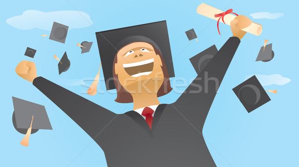 Feliz pós-graduação para cima ar Foto stock © curvabezier
