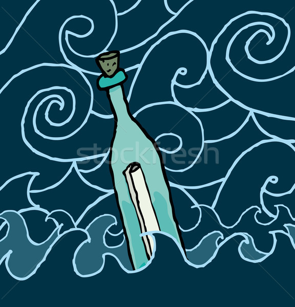 Message in a bottle drifting the night sea Stock photo © curvabezier