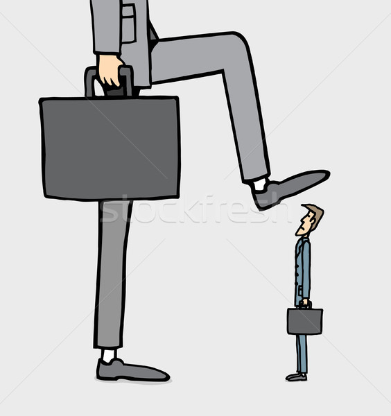 Giant businessman stepping on smaller one Stock photo © curvabezier