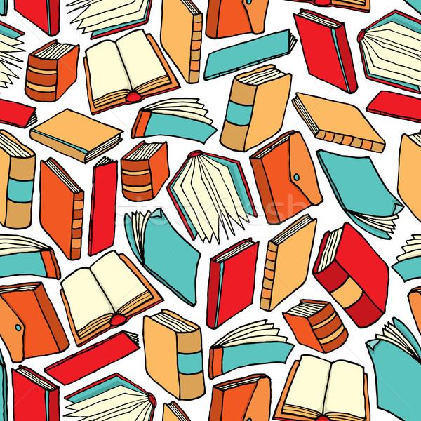 Naadloos boek patroon behang kunst onderwijs Stockfoto © curvabezier